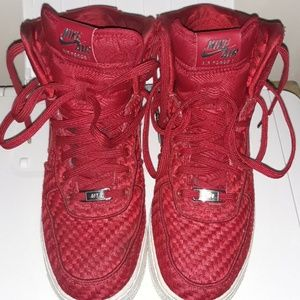 red quilted nike af1
